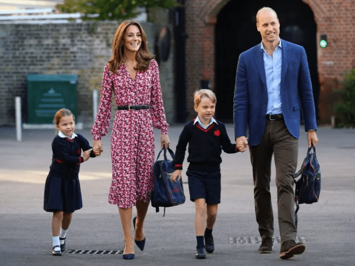 Princess Charlotte arrives for her first day at school with Prince William, Kate Middleton and brother Prince George