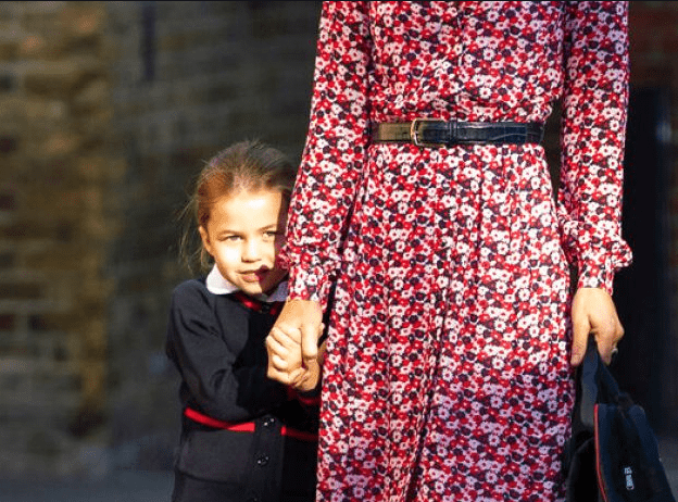 Shy Princess Charlotte adorably hides behind mom Kate Middleton on the first day of school